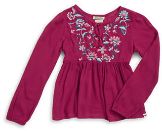 Lucky Brand Girls 7-16 Floral Embroidered Peasant Top $38 thestylecure.com