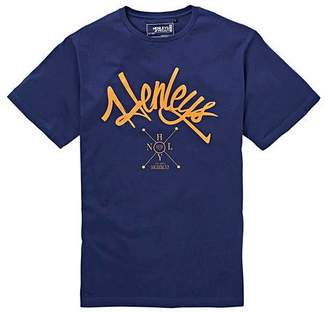 Henleys Navy Arch Short Sleeve Graphic T-Shirt Long