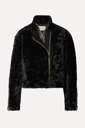 Jason Wu Shave Leather-trimmed Shearling Jacket - Black