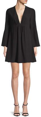 Halston Pleated V-Neck Bell-Sleeve Dress