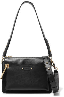 Chloé Roy Small Leather And Suede Shoulder Bag - Black