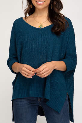 She + Sky High-Low Slouchy Knit Sweater