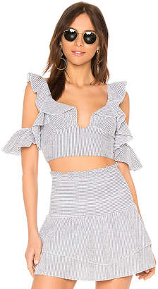 Blue Life Call Me Ruffle Top