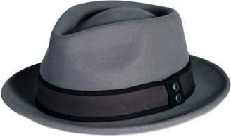 Hunter City Pmw82 Pamoa Wool Felt Wide Brim Fedora W/metal Buttoned Trim-grey