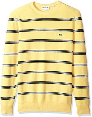 Lacoste Men's Long Sleeve Stripes Half Cardigan Rib Sweater