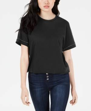 Carbon Copy Cropped Rhinestone-Embellished T-Shirt