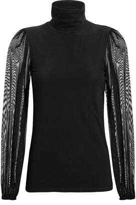 Ganni Dot Mesh Sheer Sleeve Turtleneck