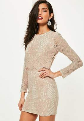 Missguided Pink Lace Long Sleeve Double Layer Bodycon Dress