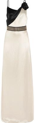 Embellished Draped Satin Gown - Ecru