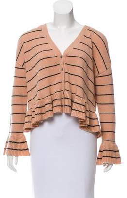 Cinq à Sept Striped V-Neck Cardigan