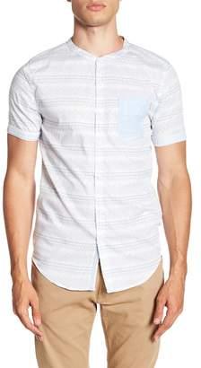 Soul Star Short Sleeve Regular Fit Print Front Button Shirt