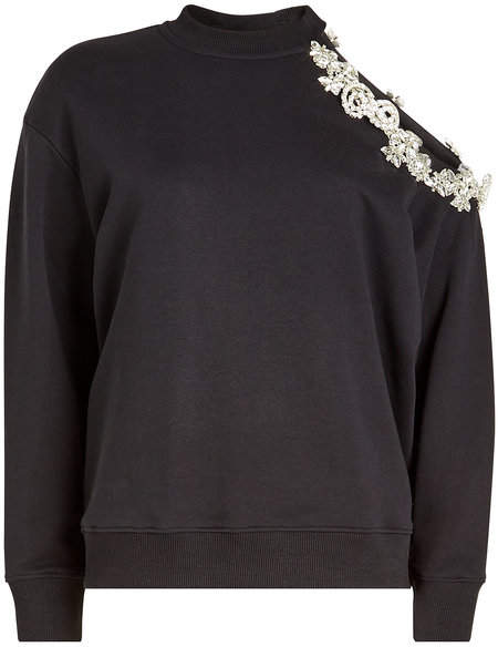 DNA Asymmetric Sweat Top with Embellishment