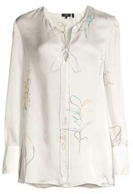 Theory Silk Charmeuse Floral Tunic