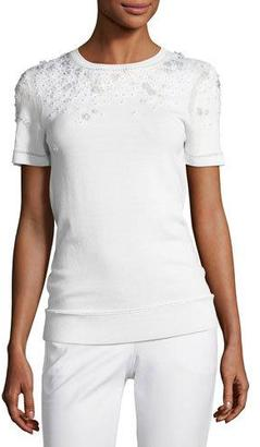 Elie Tahari Hadley Mixed-Media Short-Sleeve Merino Sweater, Ivory $268 thestylecure.com