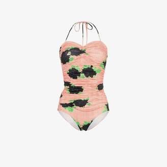 Ganni Check Rose halter neck swimsuit