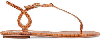 Aquazzura Almost Bare Croc-effect Leather Sandals - Tan