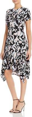 DKNY Floral-Printed Handkerchief-Hem Dress