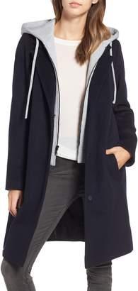 Rachel Roy Hoodie Inset Wool Blend Coat