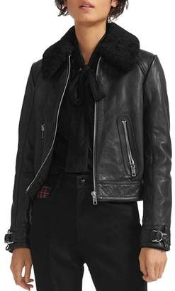 Maje Basara Real Sheep Shearling-Collar Leather Moto Jacket