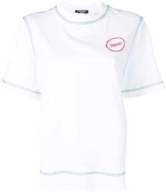 Calvin Klein split-back embroidered logo top