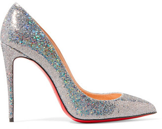 Christian Louboutin - Pigalle Follies 100 Glittered Leather Pumps - Silver $695 thestylecure.com