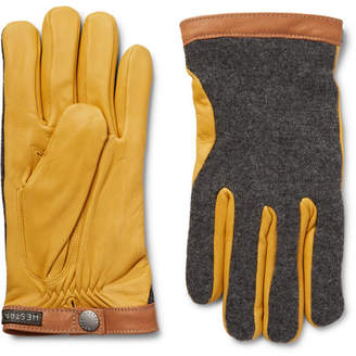 Hestra - Tricot-Knit and Leather Gloves - Yellow
