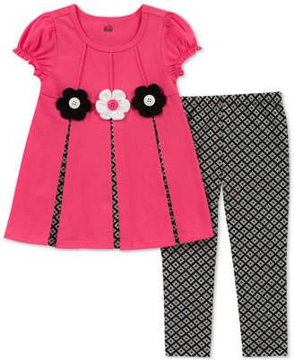 Kids Headquarters Baby Girls 2-Pc. Short-Sleeve Flower Tunic & Leggings Set
