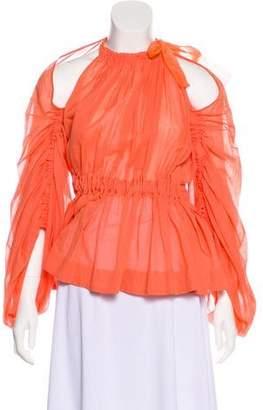 Fendi Cold-Shoulder Long Sleeve Blouse