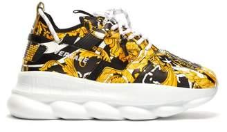 Versace Chain Reaction Baroque Print Sneakers - Mens - Black Yellow