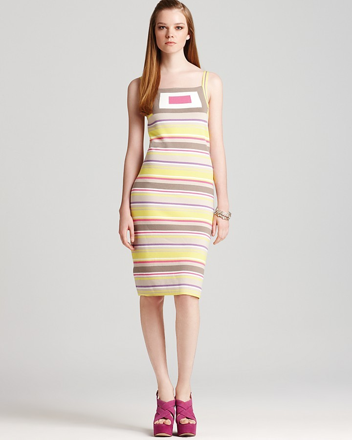 Milly Dress - Geo Intarsia Striped
