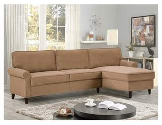 Lifestyle Solutions Marren Mid Century Microfiber Sectional Sofa in Dove
