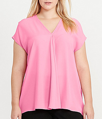 Lauren Ralph Lauren Lauren Ralph Lauren Plus Georgette Short-Sleeve Top