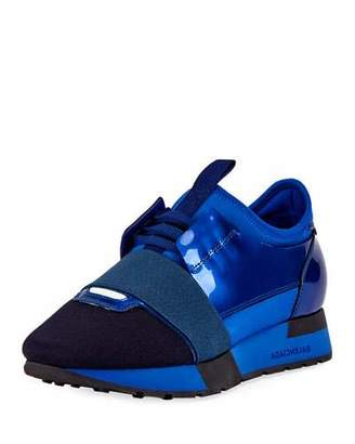 Balenciaga Patent Mesh Lace-Up Runner, Blue $775 thestylecure.com