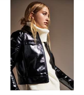 Dynamite Patent Faux Leather Jacket JET BLACK