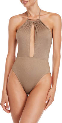 Kenneth Cole Shimmer High-Neck Cutout One-Piece Swimsuit