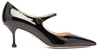 Prada Point Toe Patent Leather Mary Jane Pumps - Womens - Black