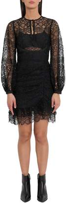 Self-Portrait Lace Short Dress With Gathered Skirt