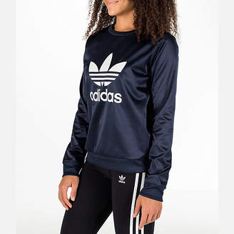 adidas Women's Trefoil Satin Crew Sweatshirt