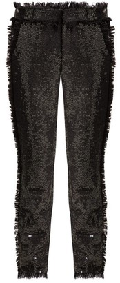 Msgm - High Rise Sequin Embellished Trousers - Womens - Black