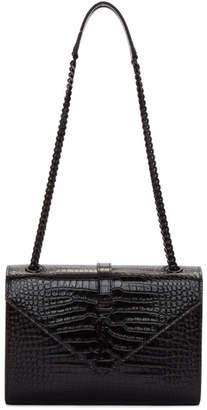 Saint Laurent Black Croc Medium Monogram Envelope Bag