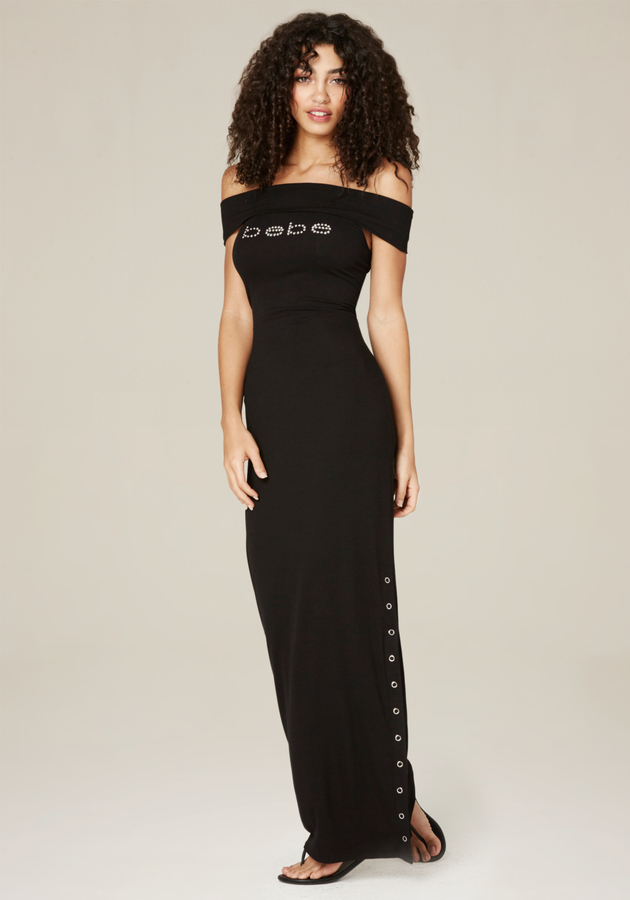 Logo Snap Slit Maxi Dress