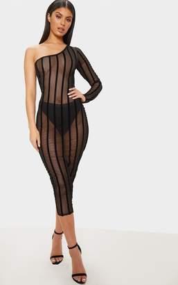 18322c22542 Black Mesh Dress One Shoulder - ShopStyle UK