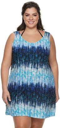 Apt. 9 Plus Size Ikat Lattice-Back Cover-Up