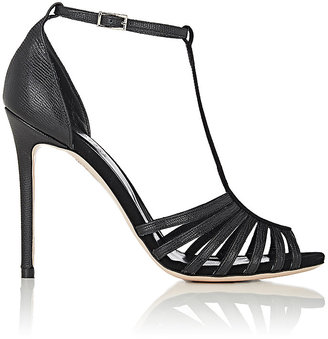Barneys New York Women's Stamped Leather & Suede T-Strap Sandals $325 thestylecure.com