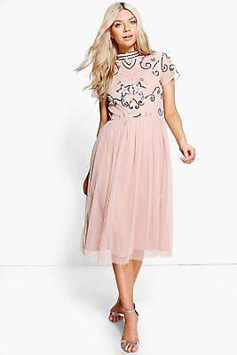 boohoo NEW Womens Boutique Embellished Midi Dress in Polyester