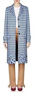 Prada Women's Geometric-Print Neoprene Topcoat - Blue