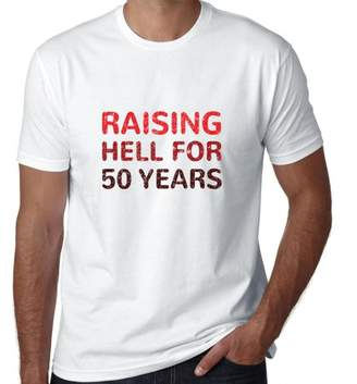 Hollywood Thread Raising Hell For 50 Years - Funny Birthday Men's T-Shirt