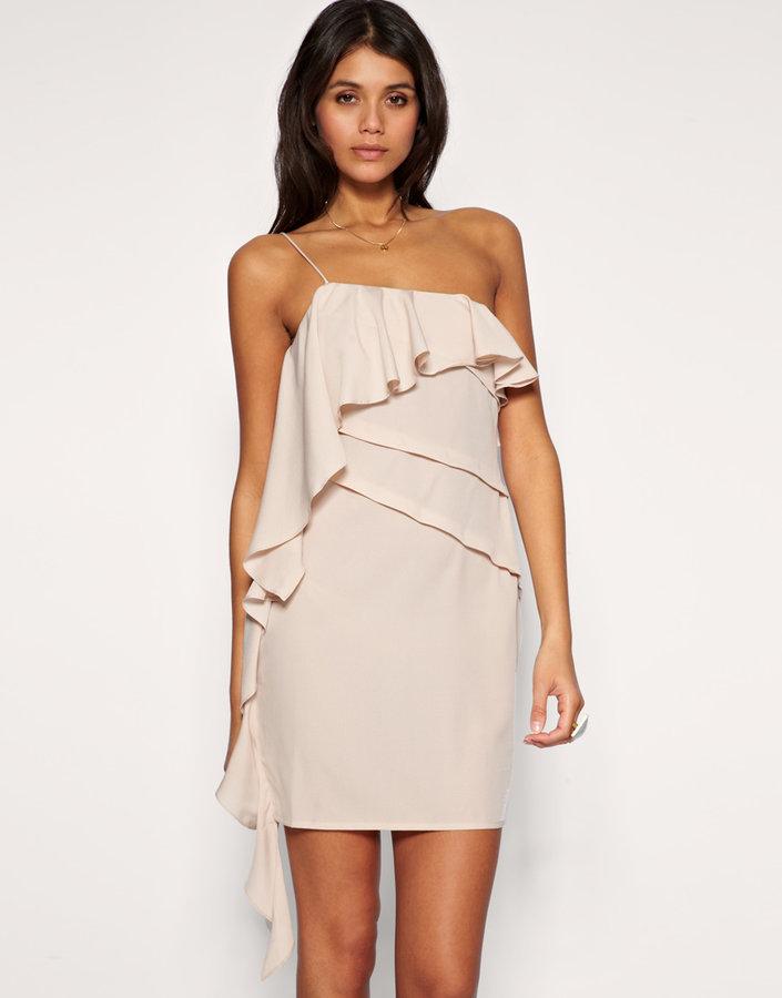 ASOS One Shoulder Waterfall Dress