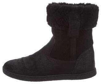 Chanel Shearling Leather Ankle Boots