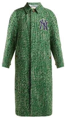 Gucci Yankees Logo Patch Wool Blend Tweed Coat - Womens - Green Multi